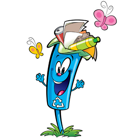 recycle plastic: Happy cartoon smiling recycle garbage bin character . Reuse and ecycling plastic glass and paper garbage concept