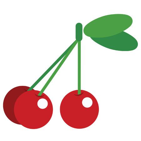 白い背景で分離された緑の光沢のあるさくらんぼの葉 3 の単純な赤のデザイン