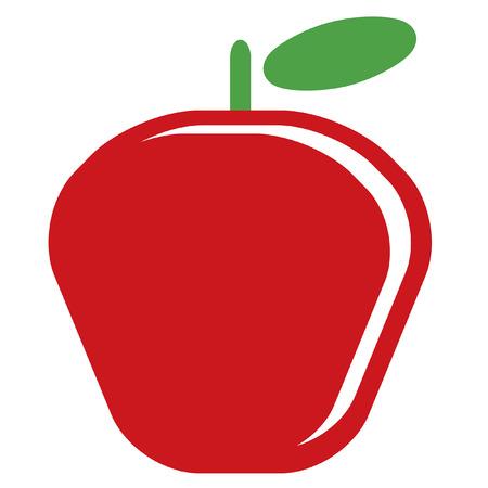 白い背景に分離した緑の葉と 1 つのベクトル簡単な赤熟したシニー アップルのデザイン  イラスト・ベクター素材