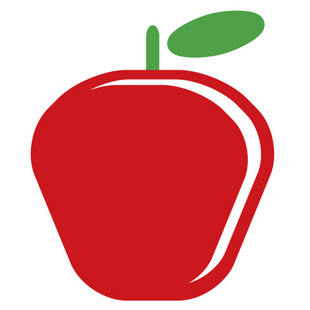 delectable: Design of one vector simple red ripe shinny apple with green leaf isolated in white background Illustration