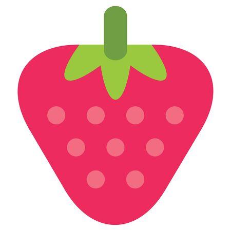 1 つのベクトル簡単な赤熟したイチゴ ピンクの種子が白い背景で隔離のデザイン