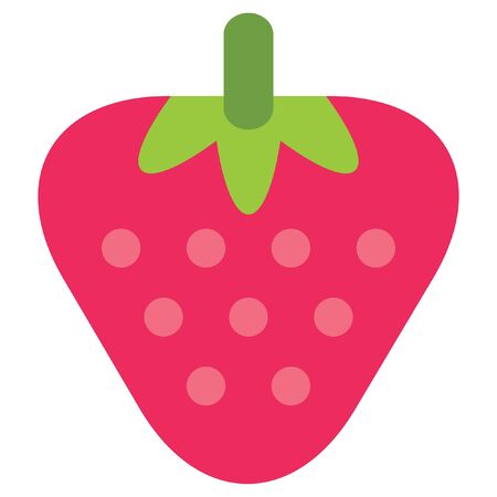 delectable: Design of one vector simple red ripe strawberry with pink seeds isolated in white background