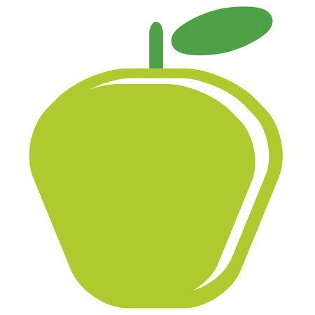 Design of one vector simple red ripe shinny apple with green leaf isolated in white background Ilustração