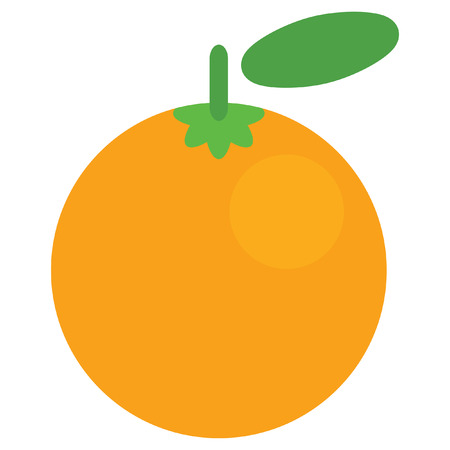 delectable: Design of one vector simple ripe shinny orange with green leaf isolated in white background