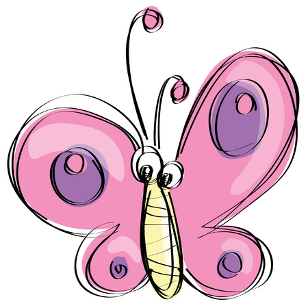 purple butterfly: Cute pink and purple butterfly flying in a naif kids drawings style with black simple outlines