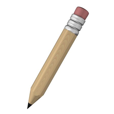 clip arts: 3D model render illustration of a brown pencil with pink eraser with wooden texture isolated in white background