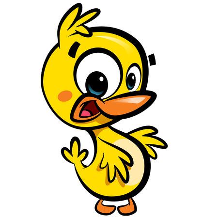 baby duck: Dolce giallo personaggio dei cartoni animati con bambino anatra nera delinea isolato in sfondo bianco