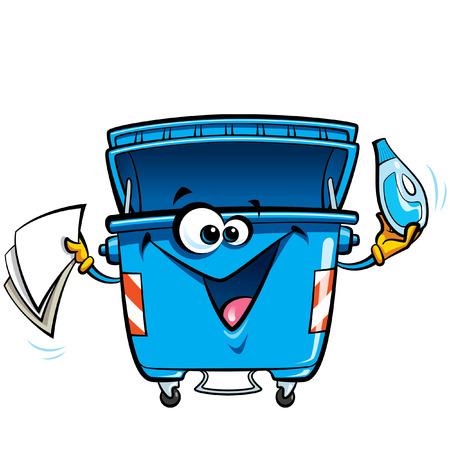幸せな漫画笑顔リサイクル ゴミ箱文字です。リサイクル再利用し、クリーンなコンセプトを維持