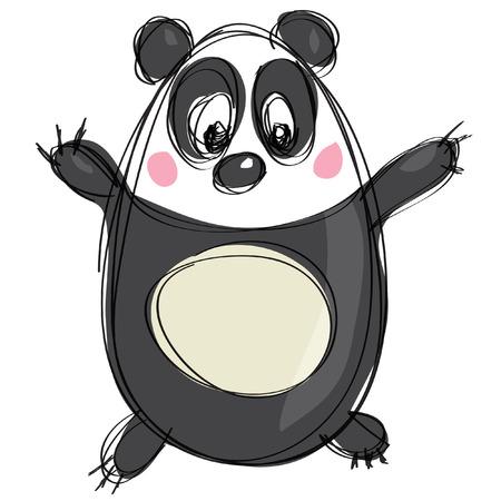 白い背景で黒いシンプルなアウトラインと naif 子供の図面スタイルでフレンドリーな漫画パンダのキャラクター  イラスト・ベクター素材