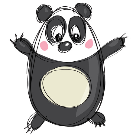 Friendly cartoon panda character in a naif kids drawings style with black simple outlines in white background Vettoriali