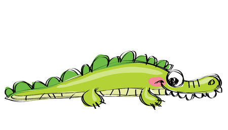 Cute green smiling aligator in a naif kids drawings style with black simple outlines in white background