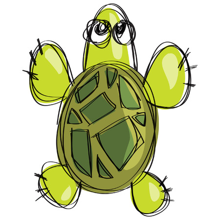 Cartoon green sea turtle in a naif doodle childish drawing isolated in white background