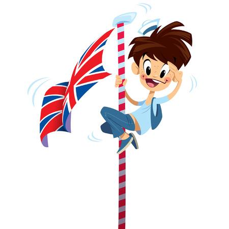 白い背景で分離された英国旗を登って漫画興奮して船乗りの少年  イラスト・ベクター素材