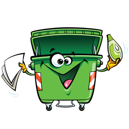 ゴミ箱文字を笑って幸せな漫画。リサイクル再利用し、白い背景で隔離されたきれいなコンセプトを維持