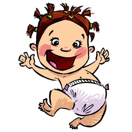 手が白い背景で分離されたおむつを着て笑顔で幸せ漫画幼児のベクトル図と鉛筆デッサンを描いた