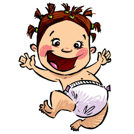 Hand drawn pencil drawing as vector illustration of a happy cartoon infant with big smile wearing diapers isolated in white background