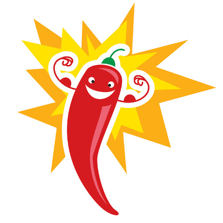 mexican cartoon: Red extremely hot mexican cartoon smiling chilli pepper character exploding and making a super strong gesture