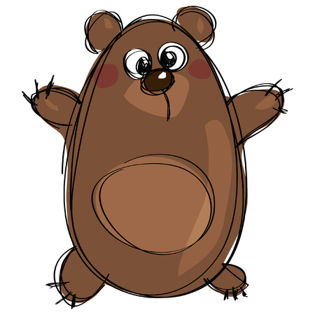 illustration line art: Friendly cartoon grizzly bear character in a naif kids drawings style with black simple outlines isolated in white background