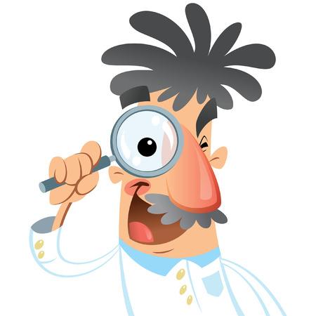 investigando: Ilustraci�n vectorial de dibujos animados m�dico cient�fico mirando a trav�s de la lente con un gran ojo durante una investigaci�n aislada en el fondo blanco