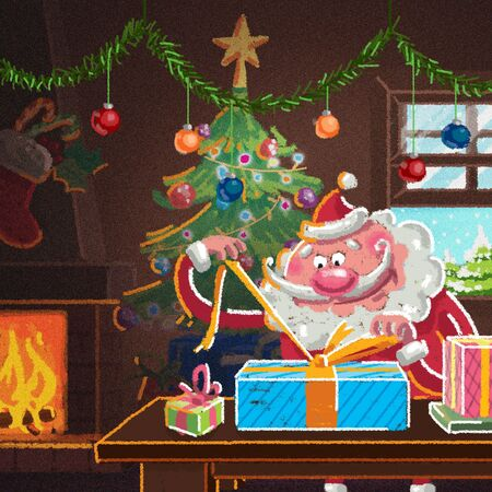 Indoor xmas cozy scene with Santa Claus in front of the fireplace preparing presents for Christmas while is snowing Banco de Imagens