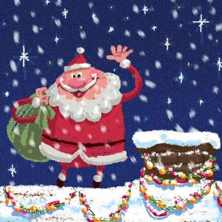 漫画の屋外のクリスマス シーンながらおりる煙突でギフトを提供する袋を運ぶサンタ クロース、青い空を背景に雪が降っています。