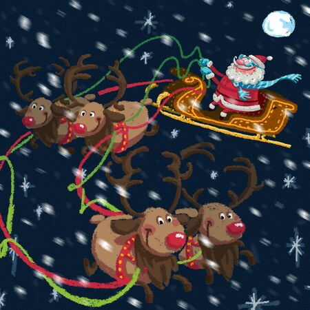 Outdoor Xmas scene of cartoon Santa Claus with sled and his reindeers delivering gifts while is snowing a  night with full moon