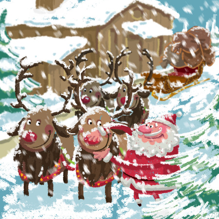 Outdoor Xmas scene of cartoon Santa Claus with sled and his reindeers preparing to deliver gifts while is snowing in front of his home