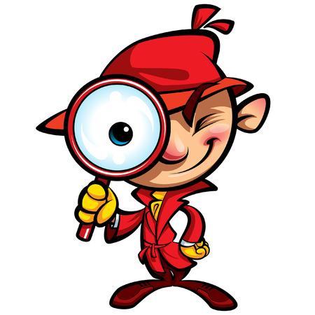 Cartoon špionážní inspektor s červenou burberry dívá s velkým okem přes obrovské zvětšovací sklo, usmíval se a zavřel jedno oko