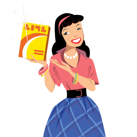 Vintage woman at retro advertisement presenting a box package isolated in white background Ilustração