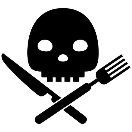 Black vector caution icon conceptual image of bad nutritious habits isolated in white background