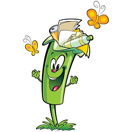 幸せな漫画笑顔緑リサイクル ゴミ箱文字です。再利用とリサイクル プラスチック、ガラスや紙こみ概念  イラスト・ベクター素材