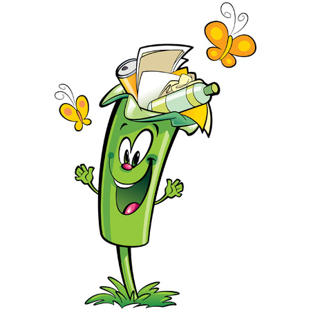 plastic pollution: Happy cartoon smiling green recycle garbage bin character . Reuse and recycling plastic glass and paper garbage concept Illustration
