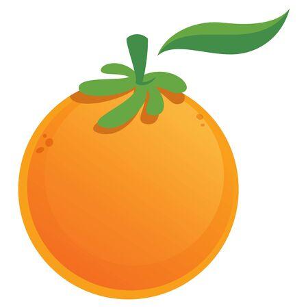 Vector illustration image of a cartoon sweet orange with green leaf