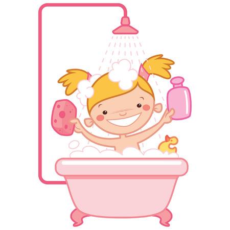 bébé de bande dessinée Bonne fille enfant ayant un bain dans une baignoire avec une bouteille de shampooing et d'un laveur et ayant un jouet de canard en caoutchouc Vecteurs