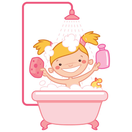 Happy cartoon baby girl kid having bath in a bathtub holding a shampoo bottle and a scrubber and having a rubber duck toy Ilustrace