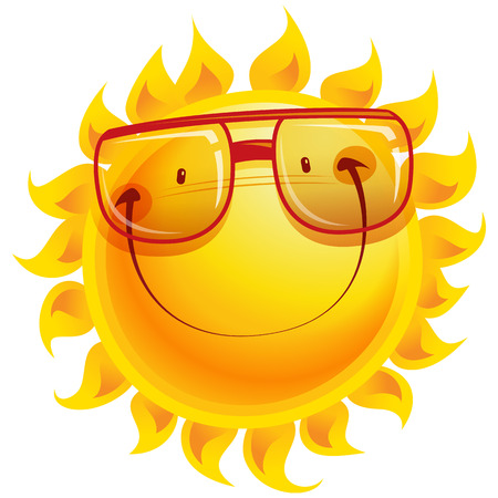 eye protection: Shining yellow smiling sun cartoon character wearing eye glasses as weather sign temperature