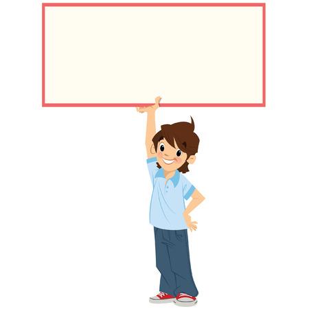 漫画少年の瞳は、あなたのテキストを追加することができるので、ホワイト スペースを残すために高と彼の頭上で、空のボードを保持しています。