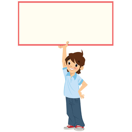 blank banner: Cartoon boy pupil is holding high and above his head an empty board in order to leave white space so you could add your text