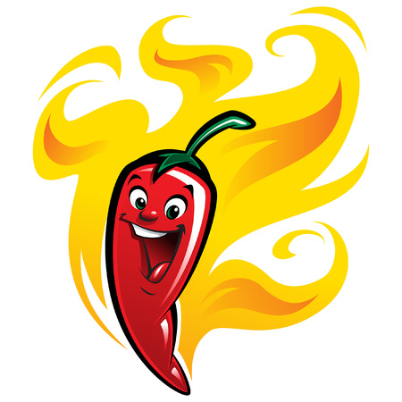 Extremely super hot red chilli paprika cartoon pepper smiling anthropomorphic character surrounded by flames