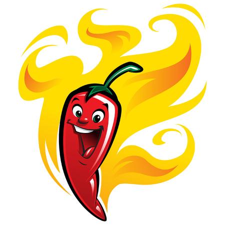 pimienta muy super caliente chile rojo pimentón caricatura sonriente personaje antropomorfo rodeado por las llamas Ilustración de vector