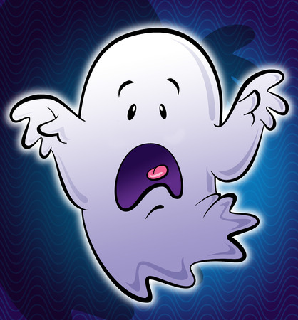 freaked: Illustration of cartoon stylized cute little scary white ghost with hands screaming Stock Photo