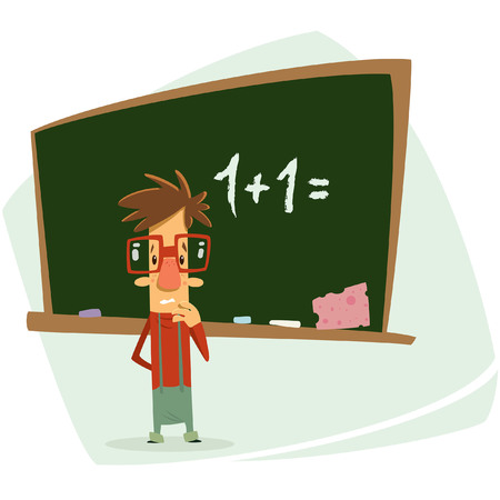 sum: Vector illustration of a cartoon student geek boy with eye glasses in his classroom thinking unhappy and trying to calculate one plus two in front of dark green school chalkboard