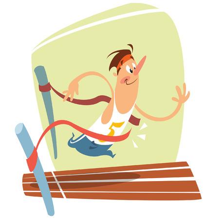 面白い漫画笑顔ランナー横断線の仕上げと勝利のイラスト  イラスト・ベクター素材