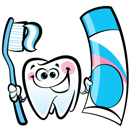 Healthy cute cartoon tooth character smiling happily and holding a dental tooth brush and tooth paste Ilustração