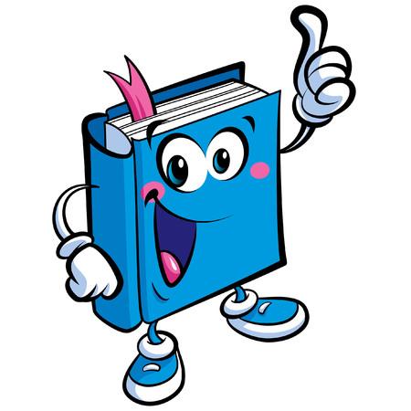 Cartoon illustrazione vettoriale di una carattere amichevole libro un concetto di istruzione e apprendimento scolastico Vettoriali