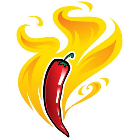 非常に超熱い炎に囲まれた赤唐辛子パプリカ ピーマン  イラスト・ベクター素材