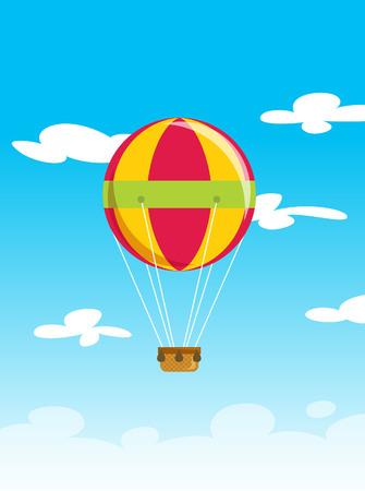 Cartoon vector illustration of an air balloon travel fly on blue sky background