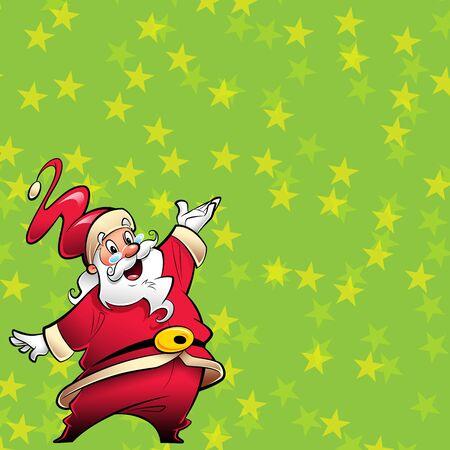 笑顔のサンタ クロース漫画マスコット キャラ イラスト赤いスーツで提示のコンセプトメイ キングを祝う休日で興奮してプレゼンテーションは、黄 写真素材