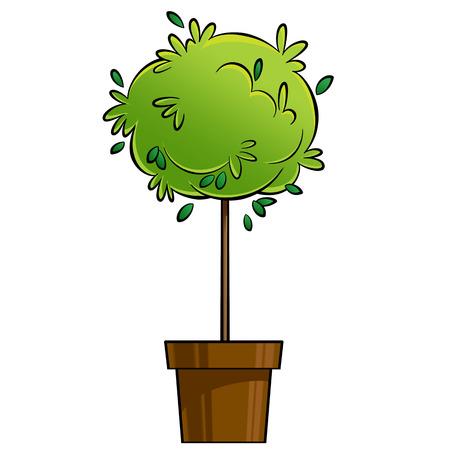 茶色の装飾的な鍋に緑の植物の漫画イラスト クリップアート。成長の概念。