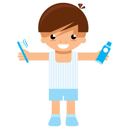 Cartoon vector child preparing to go to sleep and holding on his hands tooth brush and tooth paste ready to wash his teeth